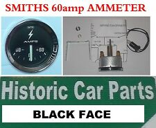 SMITHS Style AMMETER Black ALTERNATOR 60amp Gauge for Austin Cooper & S 1960-70s