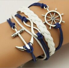 NEW Hot Infinity Love Anchor Leather Cute Charm Bracelet plated Silver DIY SL88