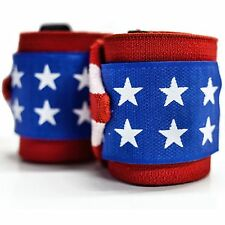 """Heavy Pro Weight Lifting Wrist Support Wrap Gym Bandage Straps 18"""" American Flag"""