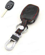 Leather Case Cover Holder For Honda Civic Ridgeline CRV 2 Buttons 3 Remote Key