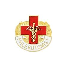 Phlebotomist Lapel Pin Cross Caduceus Gold Plated Medical Emblem Graduation 5001