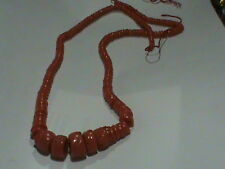 Salmon Red Coral Beads HUGE Strand 24 Inch 5 to 16 MM NATURAL Color PRICE DROP !