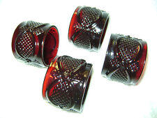 Avon. Vintage Ruby Red,Glass Cape Cod Collection Set of 4 Napkin Rings
