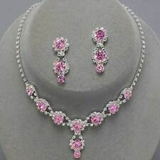Pink diamante necklace set rhinestone bling sparkly party prom bridesmaid 0202