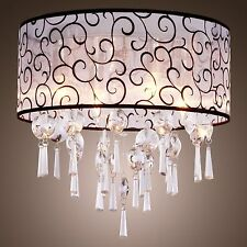 Crazy Sale Light Fixture Chandelier Silver Drum Shade Lighting Ceiling LAMP