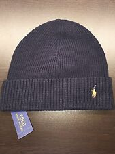 NEW Polo Ralph Lauren Men NAVY signature cuffed merino wool hat beanie