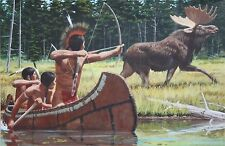 Original Vintage Chippewa Indian Moose Hunt Party-Gouache Illustration-Unsigned