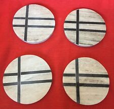 """Set 4 Designer Marble Coasters ROUND 4"""" Bread & Butter Made In India New"""