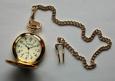 "Mens Gold Coloured Pocket Watch  with 14"" chain and clip. + FREE spare battery"
