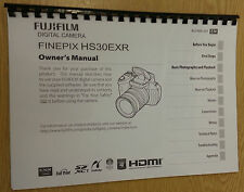 FUJIFILM HS30EXR FINEPIX  FULLY PRINTED INSTRUCTION MANUAL/USER GUIDE 146 PAGES