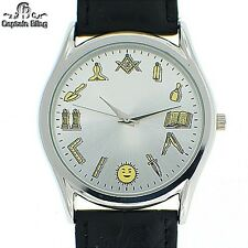 MENS ICED OUT MASONIC ICE NATION /CAPTAIN BLING W/ LEATHER BAND #2245 BRAND NE