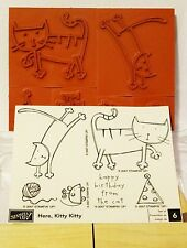 Stampin Up HERE KITTY KITTY wood mount stamp set  NEW cat mouse yarn Birthday