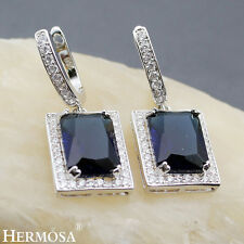 Royal Princess Blue Sapphire Real Hermosa Sterling Silver Perfect Gifts Earrings