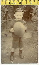 RP young boy in Cap ('A') with ball vintage rugby postcard, Auckland, NZ