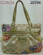 COACH POPPY Daisy Floral Applique Glam Signature Tote Bag 20794