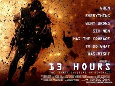 Cinema :13 HOURS THE SECRET SOLDIERS OF BENGHAZI 2016 Quad action movie poster