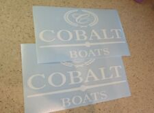 "Cobalt Vintage Boat Decal White 10"" Die-Cut 2-PAK FREE SHIP + FREE Fish Decal!"