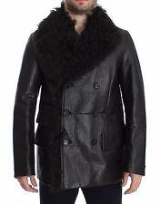 NWT $8600 DOLCE & GABBANA Black Lambskin Leather Jacket Trenchcoat EU50/ US40/ L
