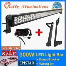 "07-15 Jeep Wrangler JK + 52"" 300W LED Light Bar + 1PC Wiring Kit DRIVING SUV ATV"