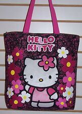 Sanrio HELLO KITTY Pink & Black Sparkle Flowers TOTE Shoulder BAG Purse NEW!!