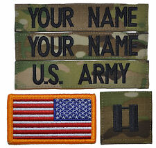 CUSTOM 5 Piece Multicam Scorpion Name Tape Rank Flag w/ Fastener U.S. Army