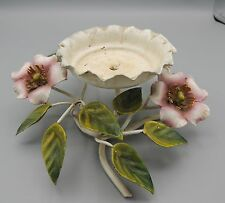 Vintage Italian Toleware Pillar Candle Holder Pink Flowers Italy Shabby Chic