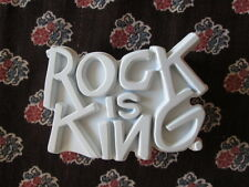 Rock is King Rock & Republic Belt Buckle White Matt Finish on Metal Fashion New