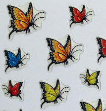 Nail Art 3D Sticker Epoxy Colorful Butterflies 37pcs/sheet