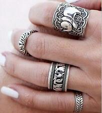 4PCS Silver Punk Vintage Elephant Ring  Women Retro Finger Rings Boho Style ^