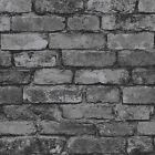RUSTIC BRICK EFFECT WALLPAPER 10m CHARCOAL SILVER GREY FINE DECOR FD31284 NEW