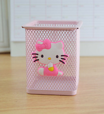 Pink Hello Kitty Metal Mesh Pen Pencil Holder Desktop Organizer