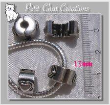 1 CLIP PERLE CHARM COEUR METAL ARGENTE POUR CHARMS & BRACELET SERPENT *CL1