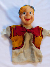 Vintage 1960s Pinocchio doll toy glove hand puppet rubber head cloth body