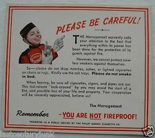 """Philip Morris Cigarettes """"Please Be Careful"""" Remember You Are Not Fireproof Card"""