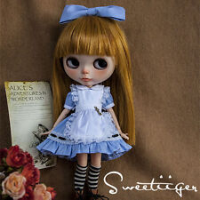 "【Tii】blue dress outfit 12"" 1/6 doll Blythe/Pullip/azone Clothes Handmade girl"