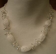 A78) A stunning unique, retro faceted crystal and peddle crackle glass necklace