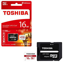 16GB Toshiba Exceria Micro SD SDHC Memory Card 90MB/s with SD Card Adapter 16GB