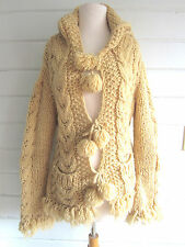 AMAZING free people style BOHO handknit hooded cardigan Nepal pompoms-beige-Sz.M