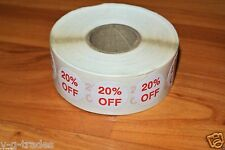 """LOT 100 Self-Adhesive 20% OFF Labels 3/4"""" Stickers Tags Retail Store DISCOUNT !!"""
