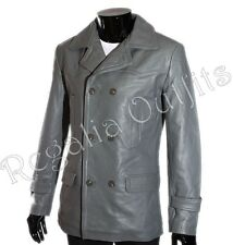 Men's KRIEGSMARINE German Submarine WW2 U-boat Grey Cowhide Leather Pea Coat