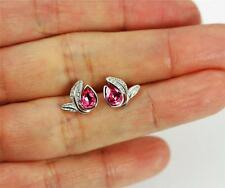 Solid 925 Sterling Silver, Clear, Pink Cubic Zirconia / CZ Leaves Stud Earrings