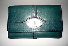 FOSSIL Women's Green Leather Trifold Snap Close Wallet Key Hole Design