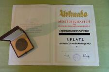 DDR Medaille & Urkunde - Meisterschaften - Sektion Schwimmen - Empor - 1954
