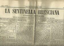 Giornale Quotidiano La Sentinella Bresciana N. 265 Orientamento Liberale 1876