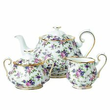Royal Albert 100 Years Tea Set 1940 English Chintz Teapot- Covered Sugar Creamer