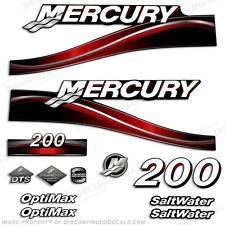 2005 Red Mercury 200hp Saltwater Optimax Outboard Engine Decals Reproductions