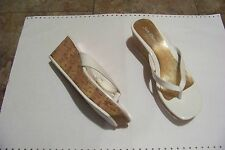 womens sun dance whote patent thong cork wedge heels shoes size 7/8