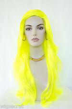 Neon Yellow Fun Color Straight Skin Top Long Wigs