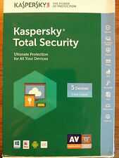 Kaspersky Total Security 2017 5 Devices 1 Year, New Sealed. Smoke/Pet free home.