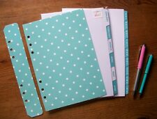 A5 A-Z Monthly DIVIDERS & Dashboard Set 'Light Teal & Turquoise' - Fits FILOFAX